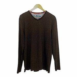 ROBERT GRAHAM Striped Long Sleeve T-Shirt Tee